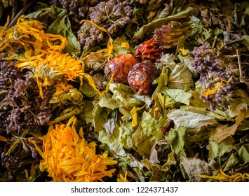 mixture of herbs, shot as background
