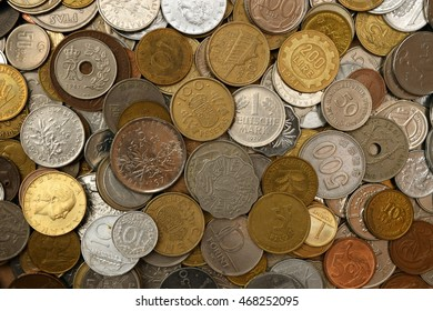 Mixture of old foreign coins, full frame currency money