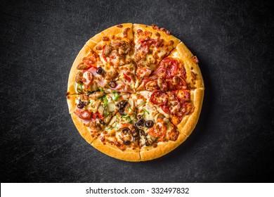 Mixture pizza Italian food