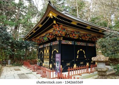Miyagi, Japan, 11/1/2019 - Zuihoden in Sendai, Miyagi Prefecture, Japan is the mausoleum complex of Date Masamune and his heirs, daimyō of the Sendai Domain.