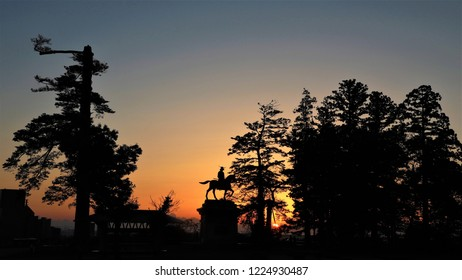 Miyagi prefecture Sendai city Aoba castle Date Masamune statue Morning glow Landscape photo