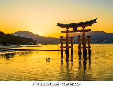 Miyajima, Hiroshima, Japan at the floating gate of Itsukushima Shrine.