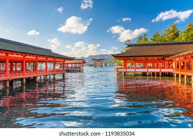 Miyajima, Hiroshima, Japan at Itsukushima Shrine with the tide rolling in.