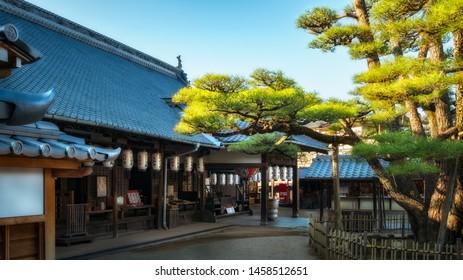 Miyajima Island, Hiroshima Bay, Japan -November 2018: Itsukushima Shrine -Local Daiganji Shinto shrine on a sunny day at Miyajima Island, Japan.