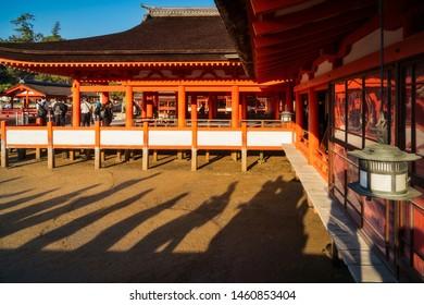 Miyajima Island, Hiroshima Bay, Japan -November 7, 2018: Itsukushima Shrine - Hira-butai, the open-air stage is located in front of the Main Shrine -Miyajima, Japan.