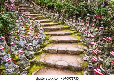 Miyajima Island, Hiroshima, Japan at the buddha lined pathways at Daisho-in Temple grounds.
