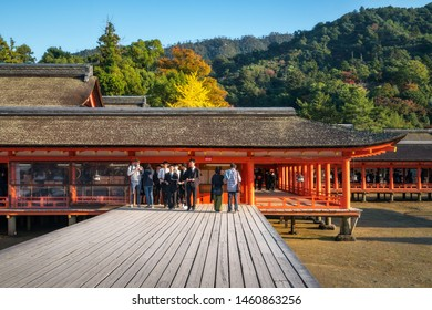 Miyajima Island, Hiroshima, Japan -November 7, 2018: Itsukushima Shrine - Hira-butai, the open-air stage is located in front of the Main Shrine. Bugaku (Ancient Dance) was performed here at festivals.