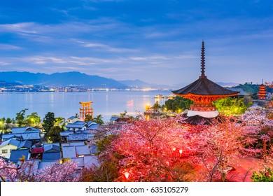 Miyajima Island, Hiroshima, Japan in spring.