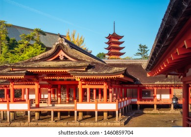 Miyajima Island, Japan -November 7, 2018: Itsukushima shrine at Miyajima Island in Japan is built on stilts so, at high-tide, it appears to be floating and visitors can appreciate the holy atmosphere.