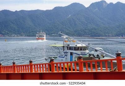 MIYAJIMA, JAPAN -15 OCT 2016- Ferry transporting visitors to the Japanese island of Itsukushima (Miyajima) in the Hiroshima Bay.