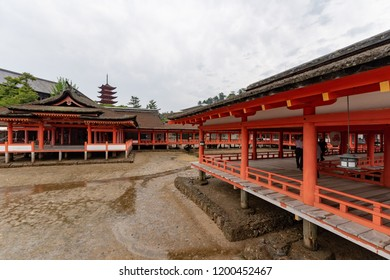 "Miyajima, Japan - June 27 2017: Itsukushima Shrine, Japan. Itsukushima Shrine is a Shinto shrine on the island of Itsukushima (popularly known as Miyajima), best known for its ""floating"" torii gate."