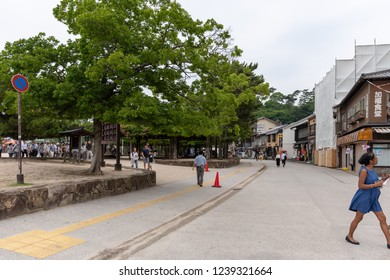 MIYAJIMA, JAPAN - JUNE 27 2017: Omotesando Shopping street in Miyajima, Japan. The liveliest place in Miyajima and visited by most tourists. The place is nearby the Otorii gate.