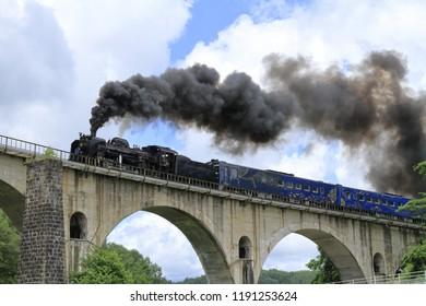 Miyamori bridge and steam locomotive in Tono, Iwate, Japan