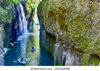 Miyazaki, Japan - MARCH 16, 2019: Manai Falls and Rowboats at Takachiho Gorge
