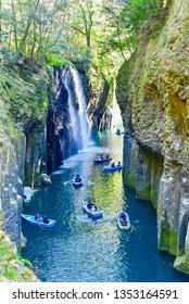 Miyazaki, Japan - MARCH 16, 2019: Nature Scenery of Takachiho Gorge in Miyazaki Prefecture