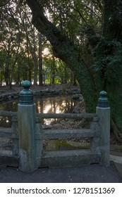 Miyazaki, Japan - November 4, 2018: Traditional decorated fence at the Miyazaki Jingu shrine grounds in autumn