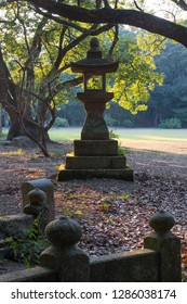 Miyazaki, Japan - November 5, 2018:Old stone lantern at the Miyazaki Jingu shrine grounds in autumn at dusk