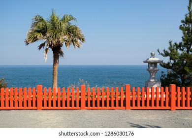Miyazaki, Japan - November 6, 2018: View from the path to the Udo Shrine, located on the Nichinan Coast south of Miyazaki City