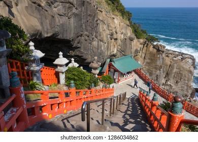 Miyazaki, Japan - November 6, 2018: Stairs to the Udo Shrine, located on the Nichinan Coast south of Miyazaki City