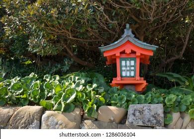 Miyazaki, Japan - November 6, 2018: Lantern on the road to the Udo Shrine, located on the Nichinan Coast south of Miyazaki City