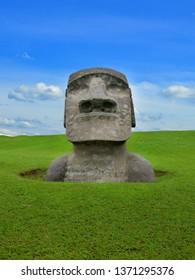 Miyazaki Prefecture Japan Sun Messe Moai statue  theme park Nichinan coast