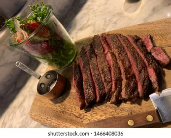Miyazaki ribeye steak and salads