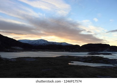 MJELLE, NORDLAND COUNTY / NORWAY - DECEMBER 01 2018: Mjelle Beach in Northern Norway near Bodo at the winter. A tide of the sea