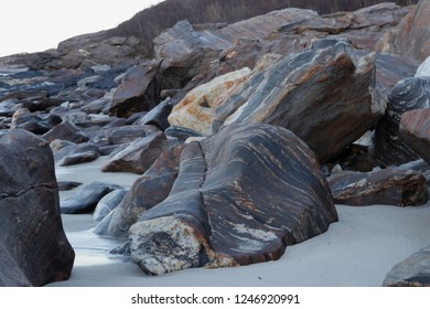 MJELLE, NORDLAND COUNTY / NORWAY - DECEMBER 01 2018: The rocks at the Mjelle Beach in Northern Norway near Bodo