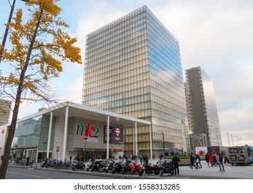 MK2 Bibliothèque & Bibliothèque Nationale de France (BNF), Paris, 13th arrondissement, Avenue de France. Beautiful shot of the movie theater's modern facade and library glass building. November 2019.