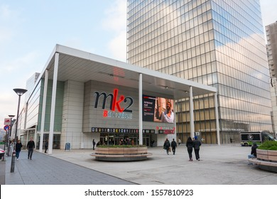 MK2 Bibliothèque, Paris, 13th arrondissement, Avenue de France. Beautiful shot of the movie theater's modern facade. November 2019.