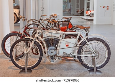 Mlada Boleslav, Czech Republic - APRIL 22, 2017: Exhibition cars in the museum of the automobile concern Skoda. Here are exhibited cars of different years, limousines and sports cars.