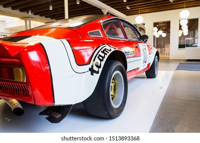 MLADA BOLESLAV, CZECH REPUBLIC - AUGUST 16 2019: Skoda 200 RS racing prototype car from 1974 based on Skoda 110 R on August 16, 2019 in Mlada Boleslav, Czech Republic.