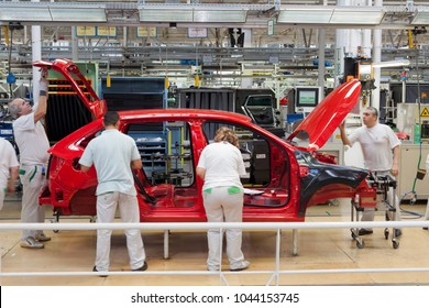 MLADA BOLESLAV, CZECH REPUBLIC, MARCH 12TH, 2018: The remake of the famous and successful Skoda Rapid is manufactured now in the second generation. The new assembly line works non-stop every day