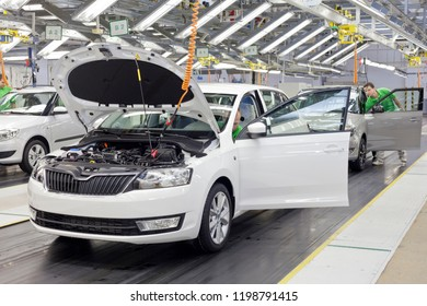 MLADA BOLESLAV, CZECH REPUBLIC - OCTOBER 3RD, 2018: SKODA AUTO innovates working process within the assembly lines. Industry workers are now more efficient at the same procedures.