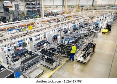 Mlada Boleslav, Czech Republic - September 30 2019: SAS Automotive Systems plant, cockpit assembly line for SKODA AUTO from above