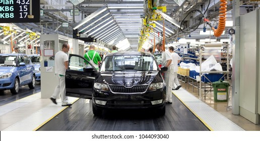 MLADA BOLESLAV, CZECHIA, MARCH 10TH, 2018 - SKODA AUTO is the leading exporter of the Czech Republic. Skoda produces 9% of the total export in the year 2017.