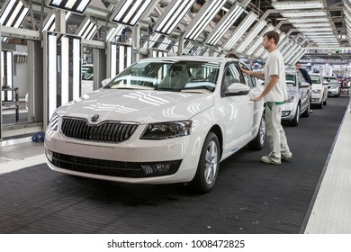 MLADA BOLESLAV, CZECHIA, October 30th, 2013 - Skoda Auto presents the new final check zone of the Skoda Octavia in the assembly line