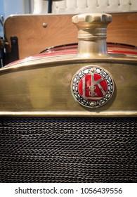 MLADA BOLESLAV - FEBRUARY 10, 2018: The first car of LAURIN & KLEMENT,  L & K Voiturette type A, year of manufacture 1906. Skoda Museum in Mlada Boleslav, Czech republic. Detail of masc.