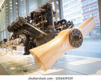 MLADA BOLESLAV - FEBRUARY 10, 2018: Aircraft engine L & K - Lorraine - Dietrich 450. Skoda Museum in Mlada Boleslav, Czech republic