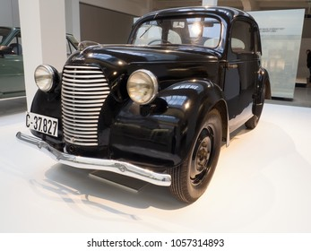 MLADA BOLESLAV - FEBRUARY 10, 2018: Skoda Popular 995 typ 937, year of manufacture 1939. Skoda Museum in Mlada Boleslav, Czech republic