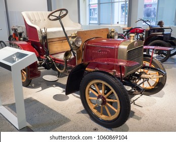 MLADA BOLESLAV - FEBRUARY 10, 2018: The first car of LAURIN & KLEMENT,  L & K Voiturette type A, year of manufacture 1906. Skoda Museum in Mlada Boleslav, Czech republic