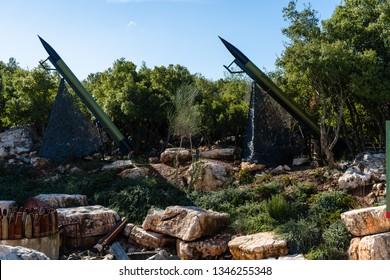 MLEETA, LEBANON - 4 Jan 2019: The Mleeta Memorial (Hezbollah Museum), is a landmark build from the conflict military equipment after the lebanese-isreali wars of the past decades in Mleeta, Lebanon.