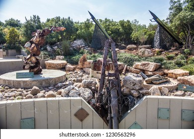 MLEETA, LEBANON - October 2018: Exposition constructed of weapons at Tourist Landmark of the Resistance, known as Hezbollah Museum in Mleeta, Lebanon