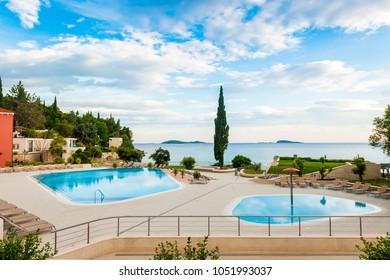 MLINI, CROATIA - JUNE 26, 2015: Beautiful scenes and sights in a small coastal town Mlini, next to Dubrovnik.