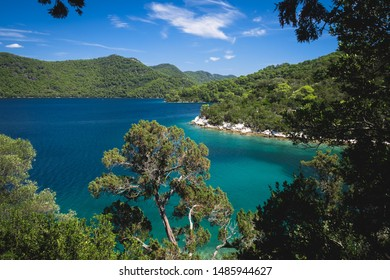 Mljet National Park, view from the top of the isle to the big lake. Mljet island, Dalmatia, Croatia.