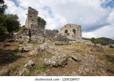 Mljet,Croatia - 07 may 2018 - The remains of the old Roman church in village Polace on island Mljet