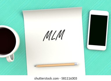 MLM, message on paper, smart phone and coffee on table, 3D rendering