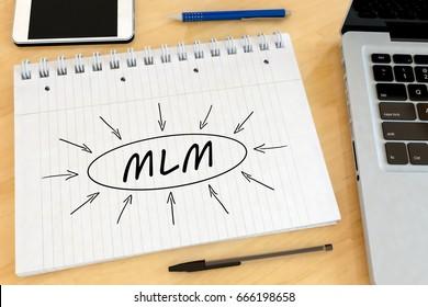 MLM - Multi Level Marketing - handwritten text in a notebook on a desk - 3d render illustration.
