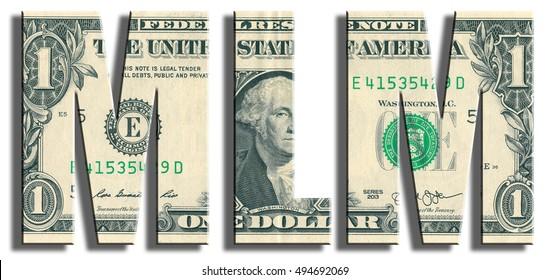 MLM - Multi Level Marketing. US Dollar texture.