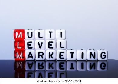 MLM Multi Level Marketing   written  on  cubes on white  background
